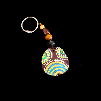 Burnie Bean Keyring - Yellow Blue and Green