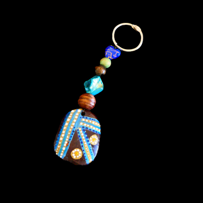 Burnie Bean Keyring - Yellow and Blue with blue bead