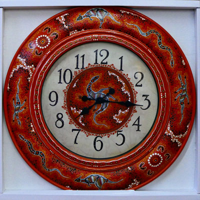 Hand Painted Clock - Brown & White